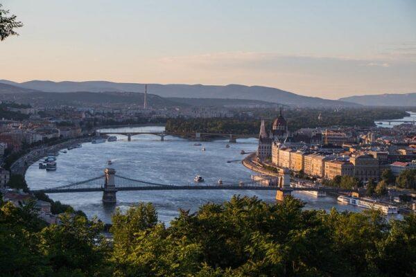 Budapest at sunset from Gellért Hill
